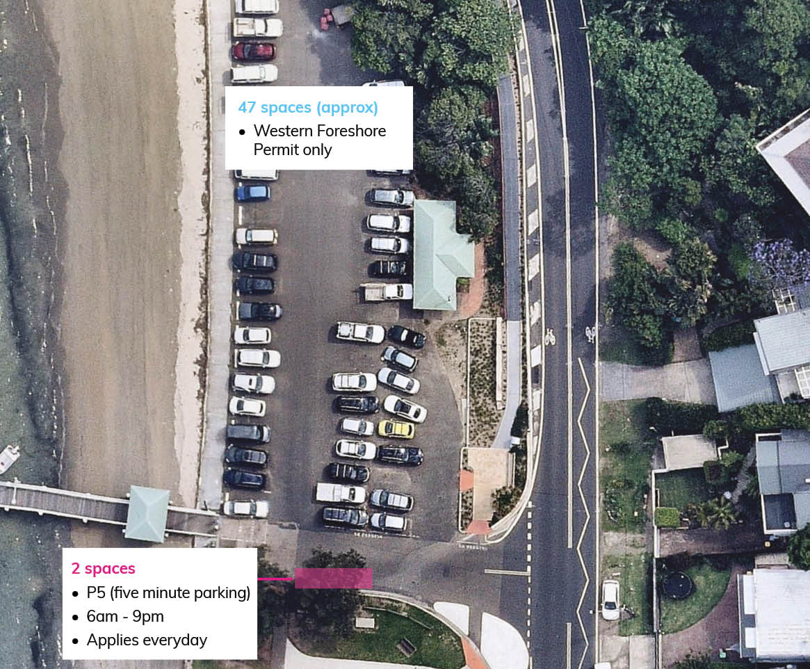 Map showing Pittwater Park Parking Changes - north end