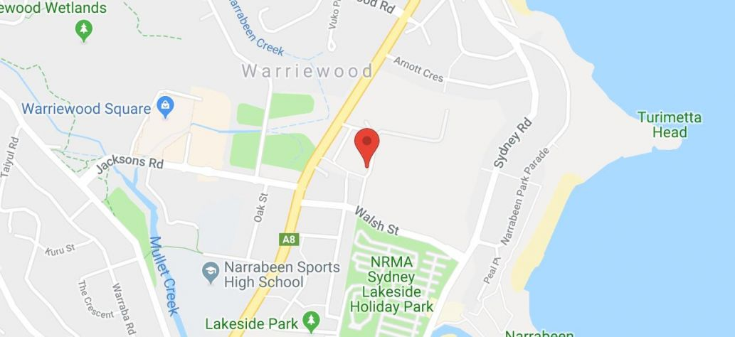 Map of North Narrabeen Reserve - Pittwater Rugby Park