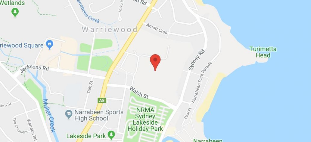 Map of North Narrabeen Reserve Fields 3 - 6