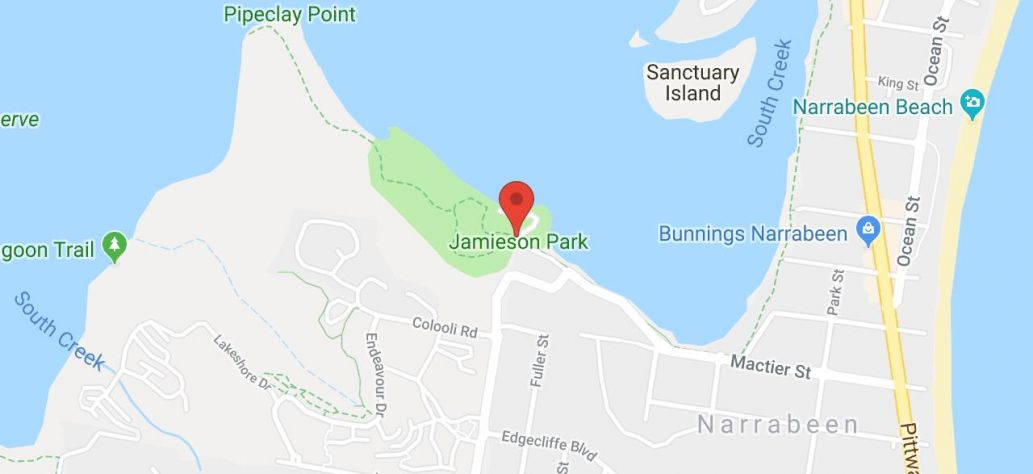 Map of Jamieson Park Narrabeen Watercraft Storage