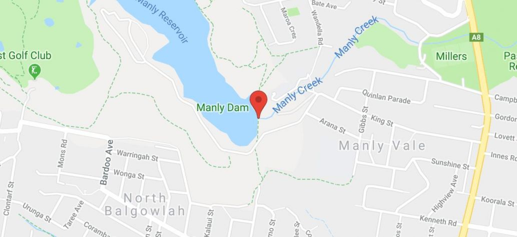 Map of Manly Dam Boat Ramps