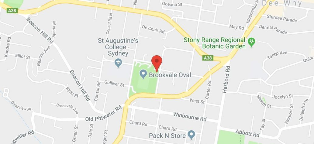 Map of Brookvale Oval Public Toilets - East