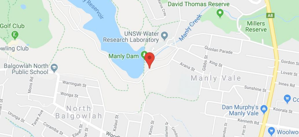 Map of Night Walk - Manly Dam
