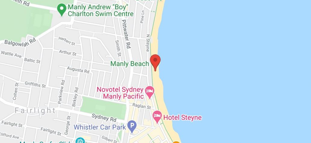 Map of Taste of Manly Beach Restaurant presented by Hotel Steyne