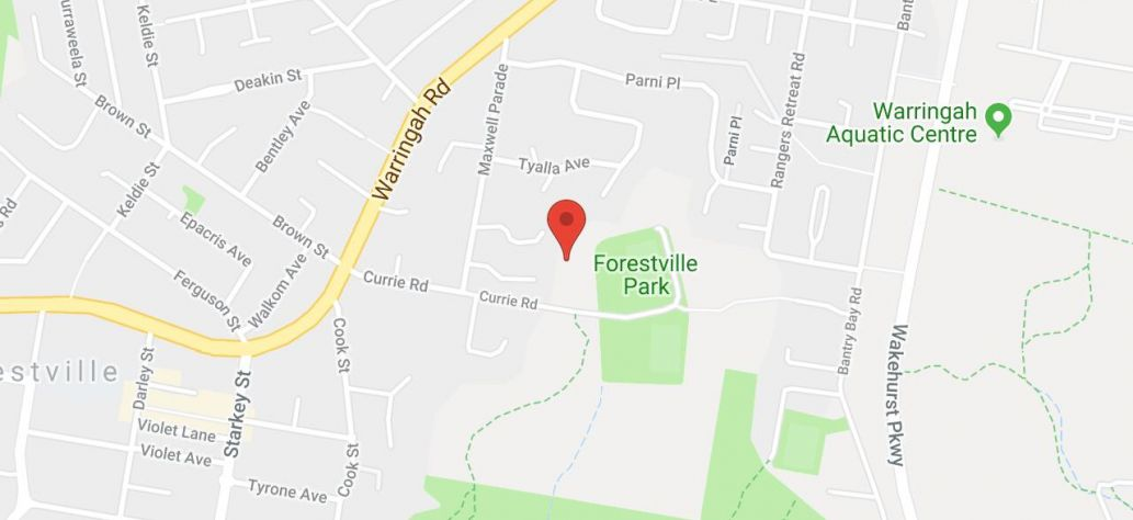 Map of Currie Road, Forestville