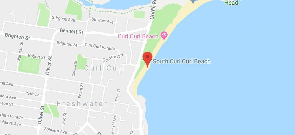 Map of South Curl Curl Beach