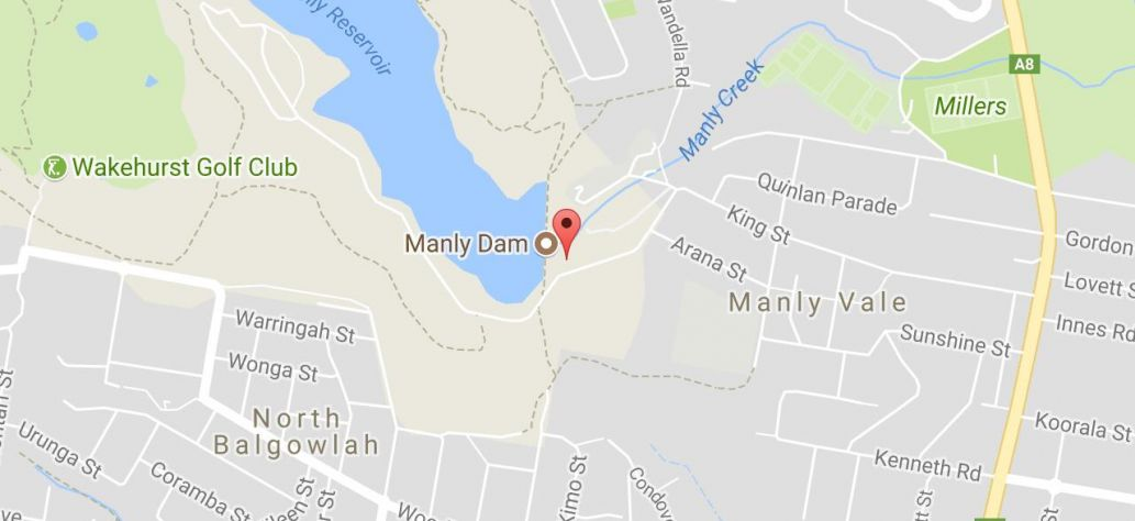 Map of Manly Dam