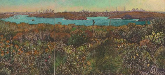 Nick Hollo, Harbour view over a thousand flowers, 2017 pastel on paper, 59.4 x 126cm