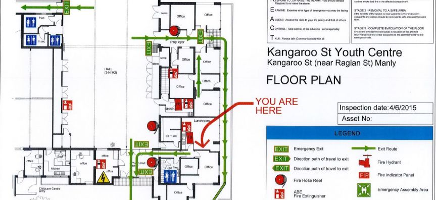 Manly Youth Centre Evacuation/Floor Plan