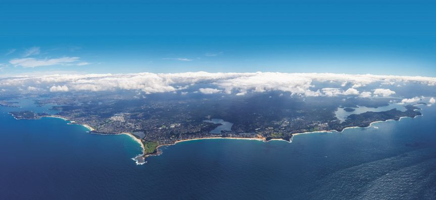Aerial photo of the Northern Beaches area