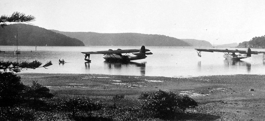 Catalina Flying Boat in shallow water off Bayview c1950. Courtesy of Isobel Bennett