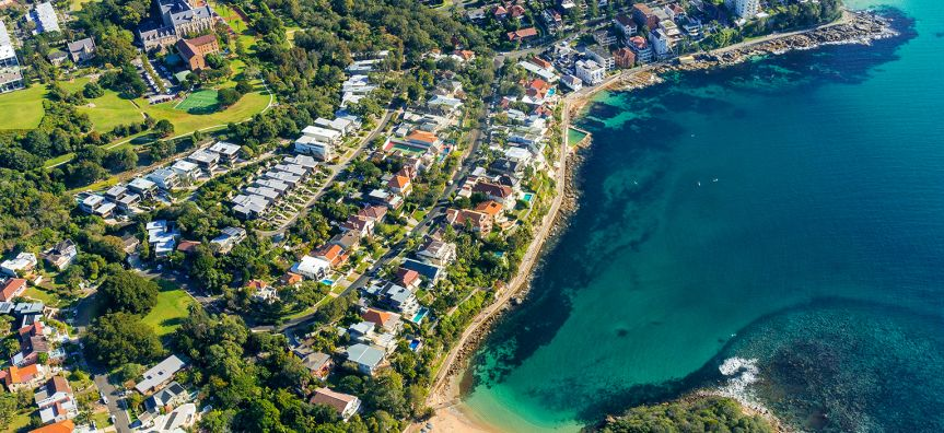 Aerial view on famous Shelly beach and Cabbage Tree bay, Manly.