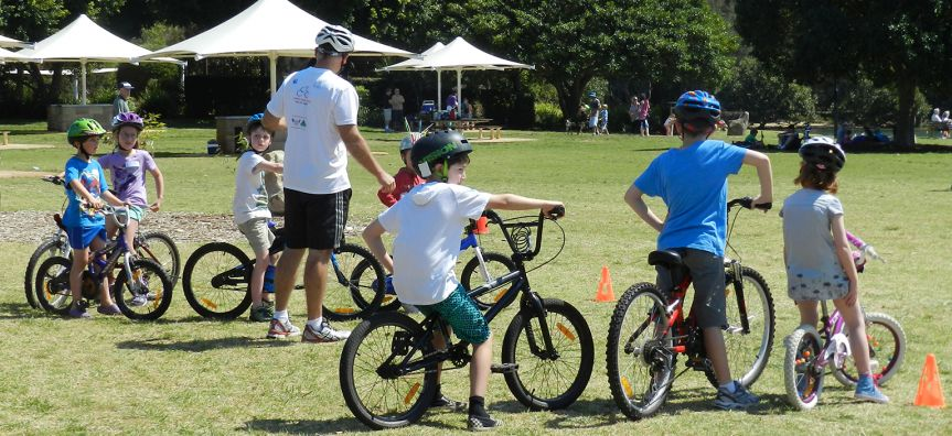 Children on bicycles at Bike Safety Day