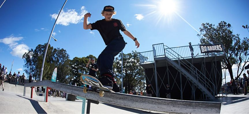 Youth skateboarding at Mona Vale Skate Park