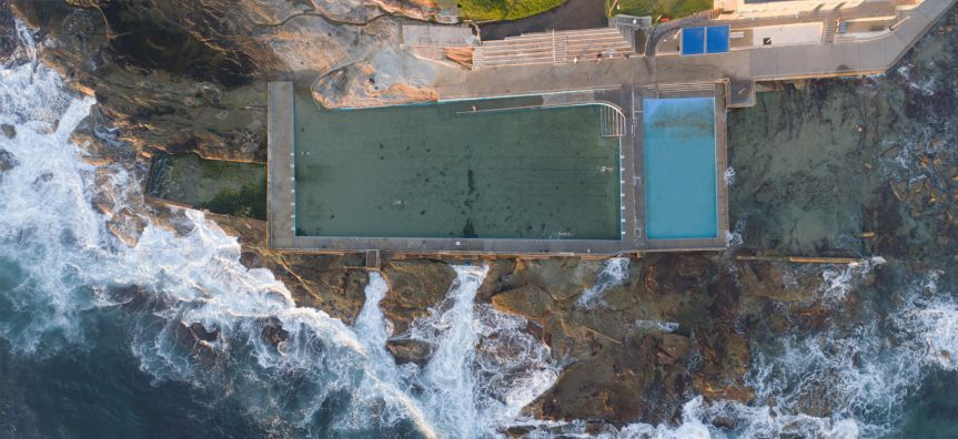 Aerial view of Dee Why Rockpool
