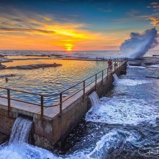 @dunleaveyphotography took a ridiculously good sunrise shot at North Curl Curl pool
