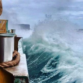 No need for your morning coffee when this is your commute to work! Rough seas yesterday, pic by: @ihaig72