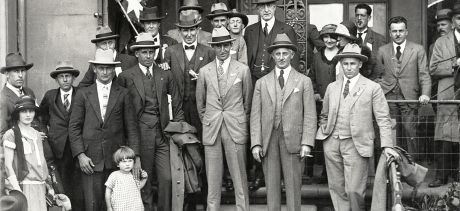 Manly Mayor and Alderman with 1924 Olympic Champions Nick Winter, Boy Charlton and Dick Eve. Courtesy of Manly Library Local Studies