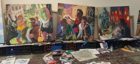 Wendy Sharpe in her studio preparing for her Festival exhibition Wanderlust, to be shown at Manly Art Gallery & Museum